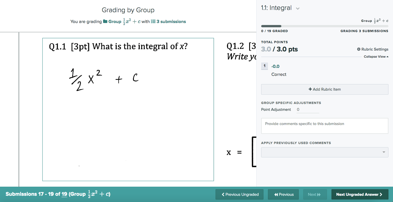 Grading interface for grading by group for a sample math question