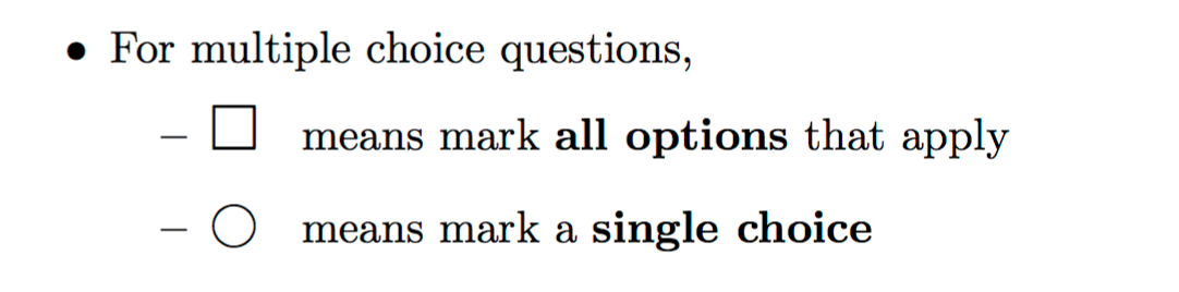 Circular marks for single-select, and square marks for multi-select multiple choice questions