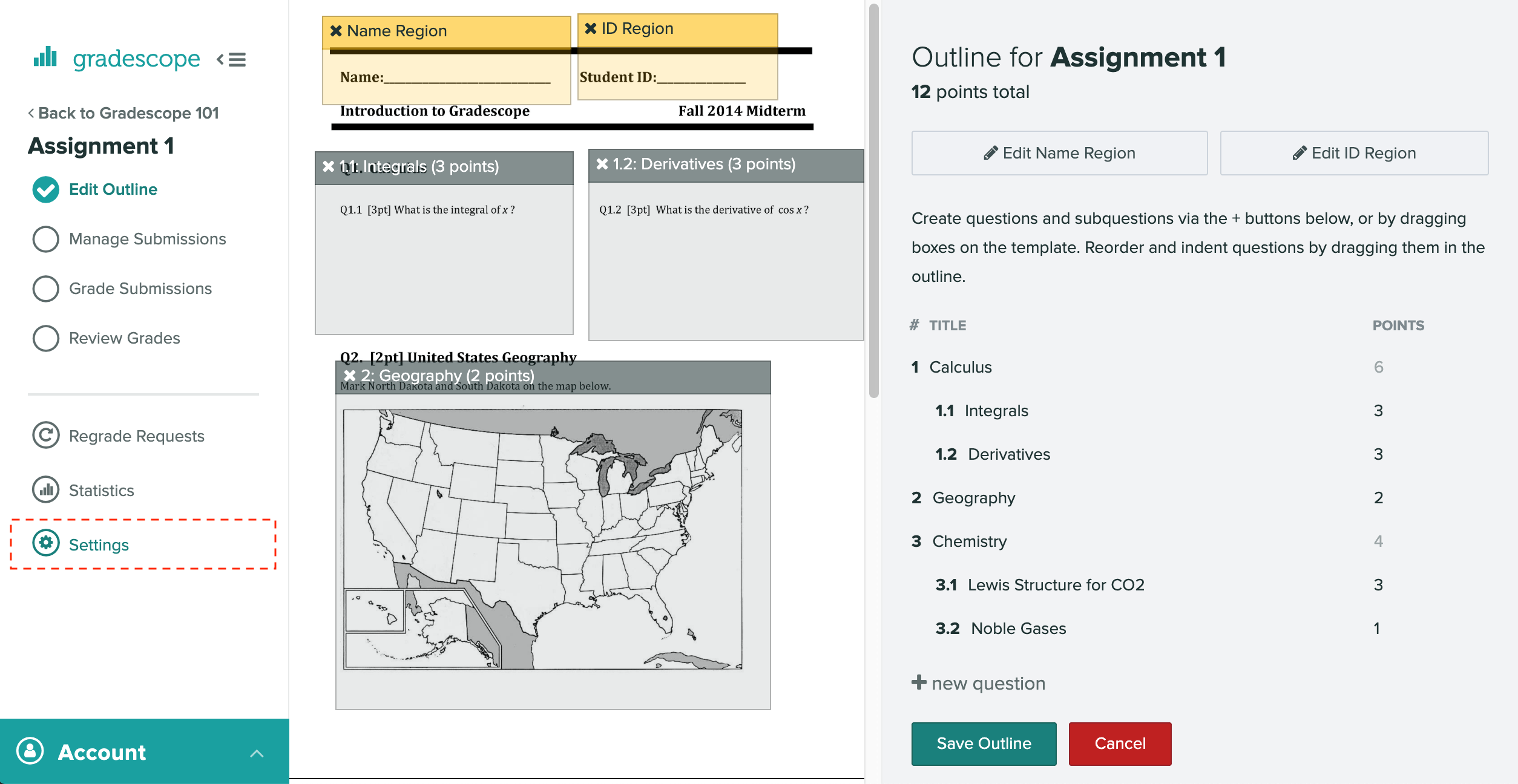 The assignment settings link highlighted within an assignment workflow