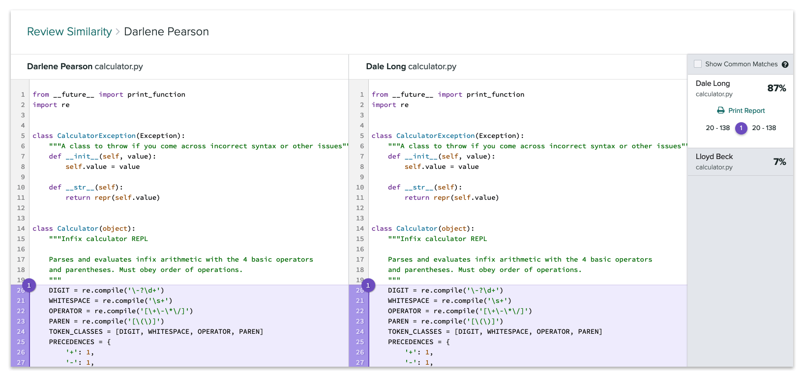 Comparison view of two files showing the similar blocks of code