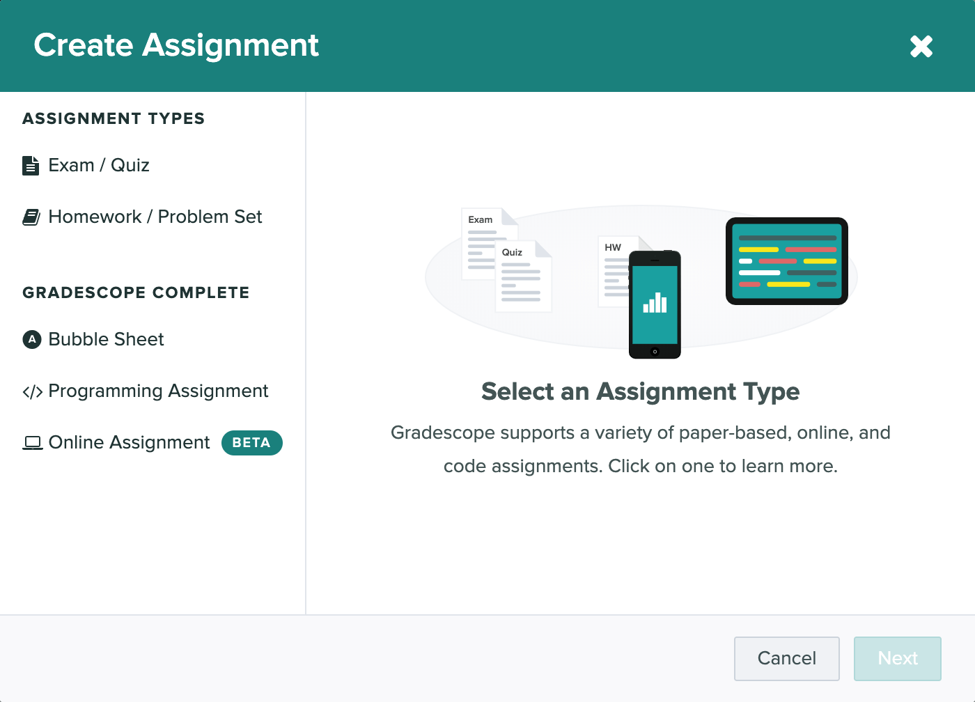 The create assignment modal is open showing the variety of assignments assignment types supported.