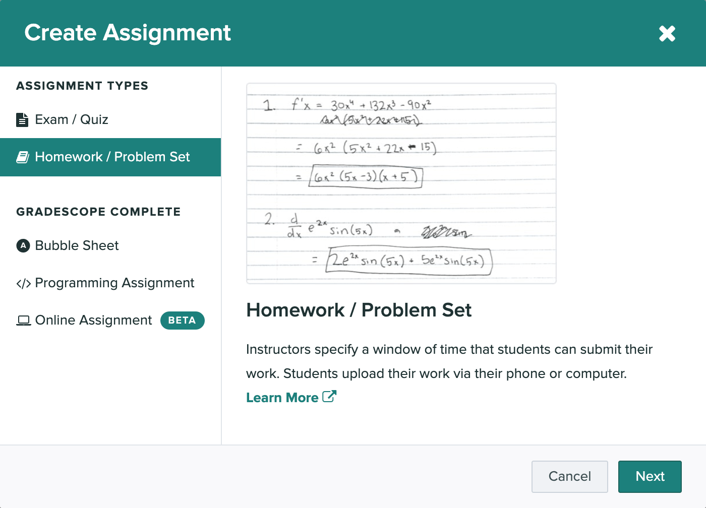 The create assignment modal is open and the homework / problem set option is selected.