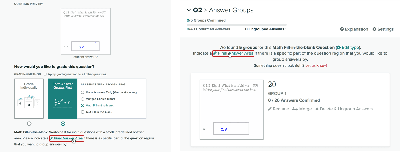 How to edit the final answer region when setting up answer groups, or after answer groups have been found