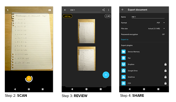 How to use Genius Scan on Android devices to scan written work