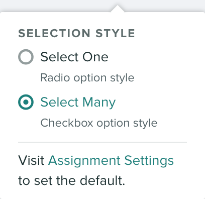 Radio option to change the style of rubric items within a group - select one or select many